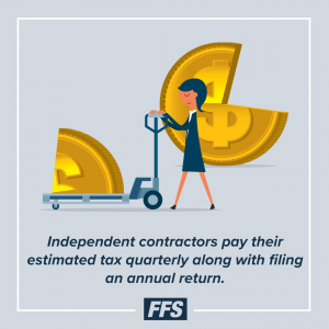 Independent contractors are typically required to pay their estimated tax quarterly along with filing an annual return.